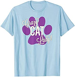 Crazy Cat Lady! Purple Paw Print Cute Funny Cat Mom T-shirt | Size S - 5XL