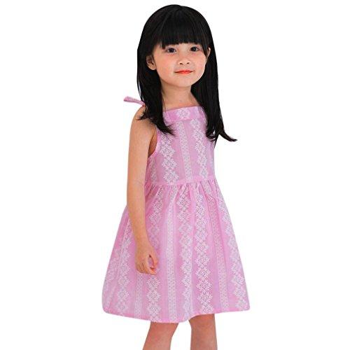 FDelinK Toddler Girls Summer Pint Sleeveless Cotton Princess Dress Baby Party Wedding A-line Dress Summer Sundress (5/6T, Pink)