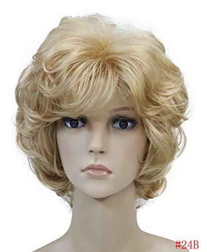 Ladies Wigs Short Wavy Golden Blonde Hair Women Synthetic Capless Full Wig 16 Colors,24B,10inches
