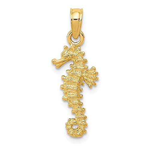 14k Yellow Gold Seahorse Pendant Charm Necklace Sea Life Man Fine Jewelry Gift For Dad Mens For Him ()