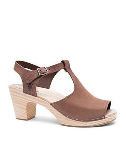 Sandgrens Swedish High Rise Wooden Heel Clog Sandals for Women | Nice Dexter Tan, EU 37