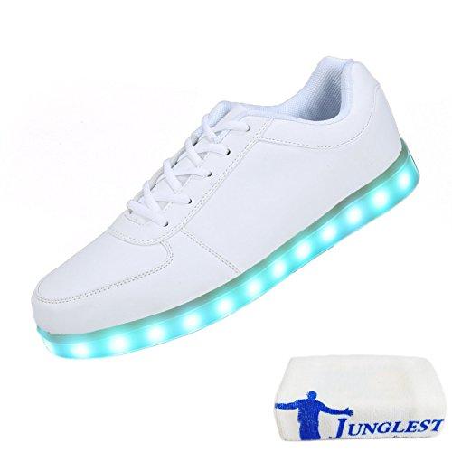 [Present:kleines Handtuch]JUNGLEST® (TM) 7 Farbe USB Aufladen LED Leuchtend Sport Schuhe Sportschuhe Sneaker Turnschuhe für Unise Weiß