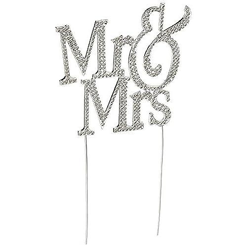 Bling wedding decorations amazon 1 x mr mrs monogram silhouette rhinestone wedding cake topper decoration with crystals formal font junglespirit Choice Image