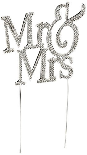 1 X Mr & Mrs Monogram Silhouette Rhinestone Wedding Cake Topper Decoration with Crystals - Formal Font ()