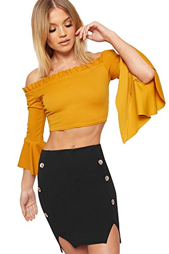 - WearAll Women's Gold Button Accent Mini Skirt Elasticated Stretch Crepe Bodycon - Black - US 8 (UK 12)