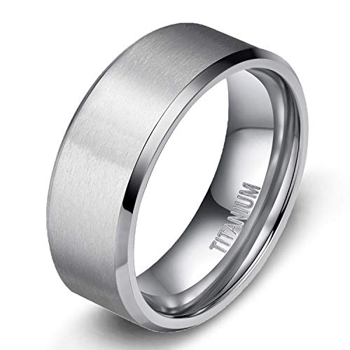 TIGRADE 4MM/6MM/8MM Unisex Titanium Wedding Band Rings in Comfort Fit Matte Finish for Men Women (10 mm, 7.5)