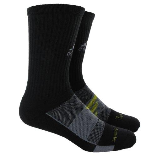 adidas Men's Barricade Tennis Crew Sock, Black/Tech Grey/Vivid Yellow, Large