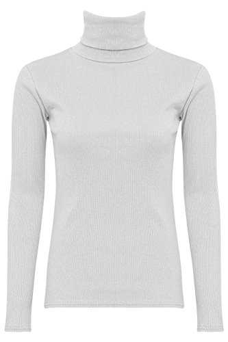 NEW WOMENS LADIES GIRLS PLAIN LONG SLEEVES POLO TURTLE NECK STRETCHY SLIM T-SHIRT TOP-White-UK 22/24 (100% Cotton)