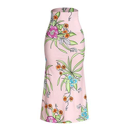 RIUDA Women's Slim Regular Flower Printing High Waist Casual Long Maxi Skirt Pink ()