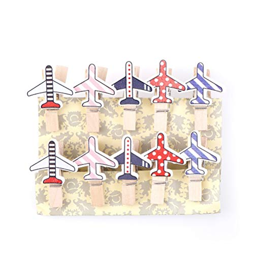 KathShop 10pcs/Pack Wooden DIY Clips Clothespin Craft Clips Cartoon Plane Wooden Clip Photo Paper Craft Party Decoration