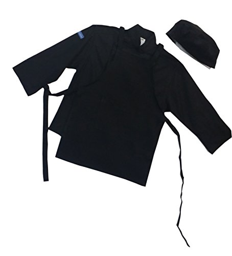 CHEFSKIN Jet Black Twill Children Chef Set: Jacket, Apron & Hat, Lightweight Soft Fully Adjustable all sizes (BABY-TODDLER (12-36 mos))