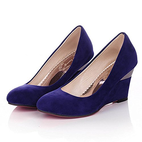 CHFSO Womens Casual Color Block Wedges Heighten Slip On Faux Suede Pumps Shoes Blue gQy2XGtK