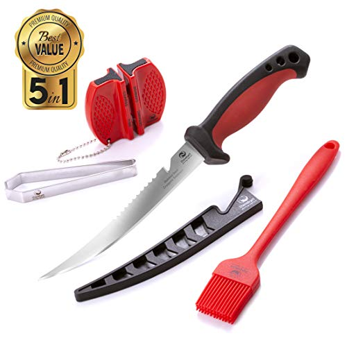 Dacodget 6.5 inch Fillet Knife Kit | Multifunctional Stainless Steel Fish Deboning and De-Scaling Knife with Sheath + Portable Knife Sharpener + Fish Bones Tweezers + BBQ Silicone Glazing Brush