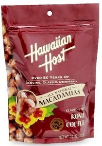 Hawaiian Host Macadamia Nuts Kona Coffee Glazed 4/11oz Bags - Bonus Gift -Hawaiian Tropical Tea by Hawaiian Host
