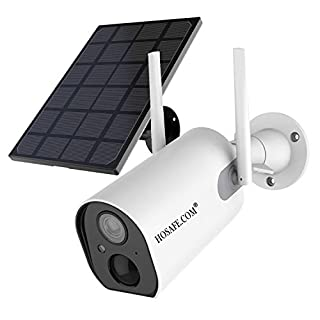 HOSAFE Solar Security Camera Wireless Outdoor Rechargeable Battery Powered, 2-Way Audio, Motion Detection, 1080P Night Vision, Free Solar Panel Optional