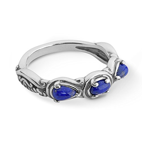 Carolyn Pollack Sterling Blue Lapis Gemstone 3 Stone Ring Size - Design Ring Flower Oxidized