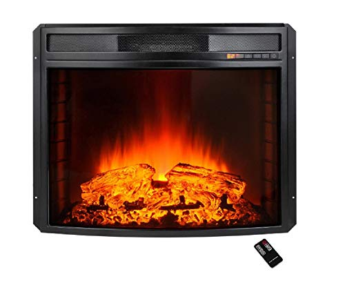 28 in. Freestanding Electric Fireplace Insert Heater in Blac