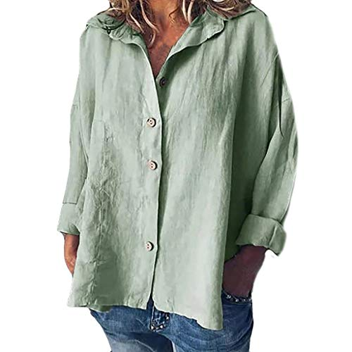 (Womens Summer Fashion 2019 ! Women Button Tops Linen Cotton Fashion Long Sleeve Short T Shirt Ladies Blouse Army Green)