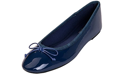 Feversole Women's Macaroon Colorful Memory Foam Cushion Insock Patent Ballet Flat Navy