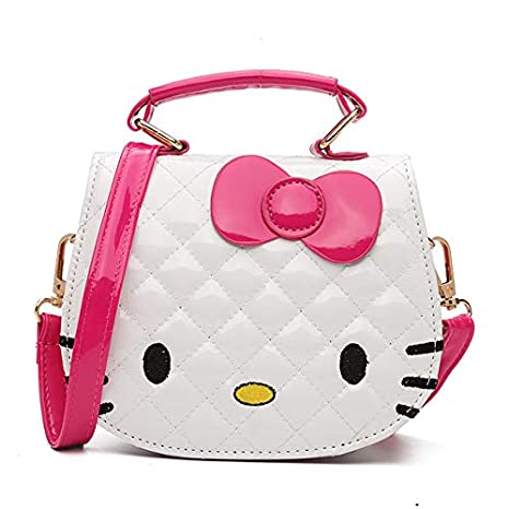 1 cartera para niñas, color blanco y rosa cálido, diseño de Hello Kitty,