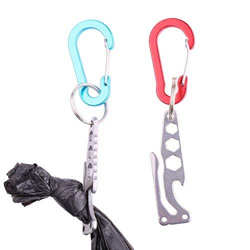 YUYUSO 2 Pack Dog Poop Bag Holder Leash Waste Carrier Holder Pets Hands Free Knot Holder Stainless Steel