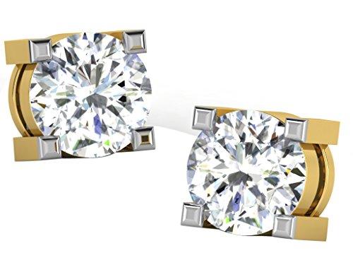 Libertini Boucle d'oreille argent 925 plaque or Jaune serti de Diamant en for...