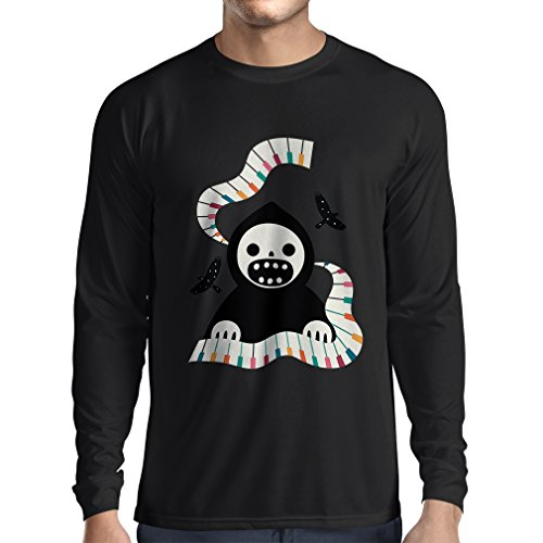 Long Sleeve t Shirt Men Halloween Horror Nights - The Death is Playing on Piano - Cool Scarry Design (Medium Black Multi Color) ()