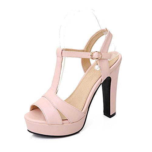 Pink ladies there barely strap double heel shoes size high Womens buckle sandals party stiletto SwqFxOOa