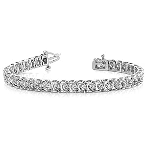 14K White Gold Diamond Round Bridge Prong Set Tennis Bracelet (2.00ctw.) - Size 9.25