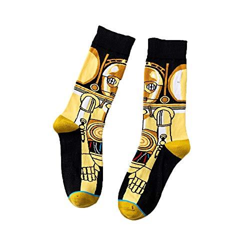 Mickee Men Casual Geometric Cartoon Pattern Cotton Long Socks Outdoor Sporting (Type 3)