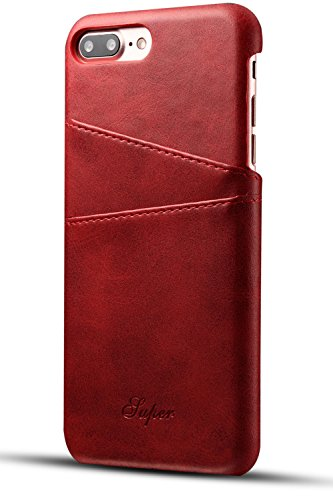 iPhone 8 Plus Card Case, iPhone 7 Plus Case, XRPow Wallet Phone Case Leather Slim Back Case Cover Slim Leather Back Case With Credit Card Holder (Medium Case Red Camera)