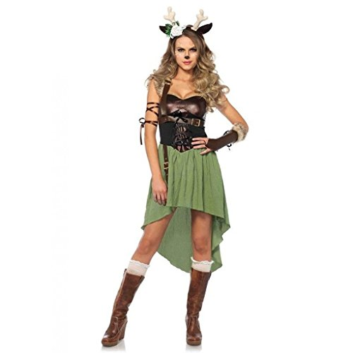 Bambi Halloween Costumes (Women's Dark Forest Fawn Deer Bambi Dress Outfit Adult Halloween Animal Costume Small)