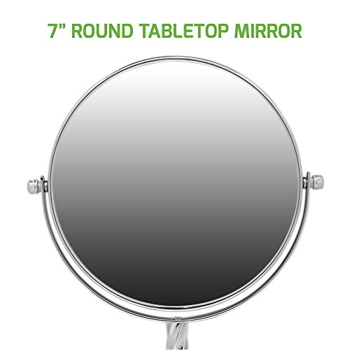 Ovente Round Tabletop Vanity Mirror, 7 Inch, Dual-Sided with 1x/5x magnification, Chrome-Plated Iron, Chrome (MNLBT70CH1X5X) by Ovente (Image #5)
