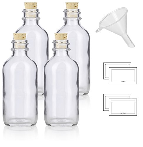 2 oz Clear Glass Boston Round Bottle with Cork Stopper Closure (4 Pack) + Funnel and ()