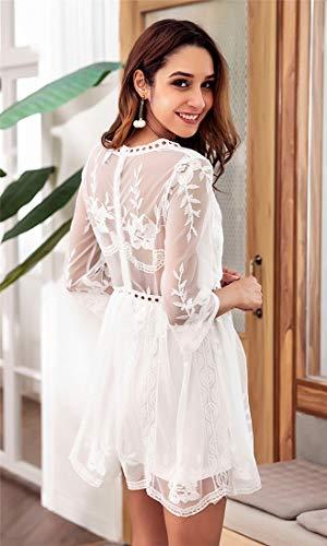 Sexy Couture Taille Une Col Usure Sijux Longues Creuse Ligne Dentelle Brodes Manches Femmes Intrieure Haute en Jupe Coutures fX5nxq4w