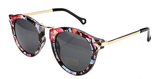 FEISEDY Vintage Arrow Women Sunglasses Floral Round Design B1101 ()