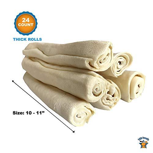 Thick Rawhide Retriever Roll Bulk - 24 Count | 10-11'' Long | 100% Natural Rawhide Roll Dog Treats by 123 Treats