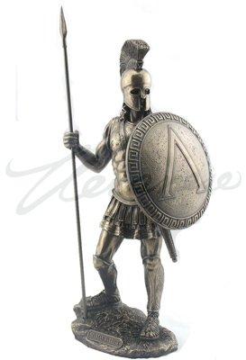 Greek Spartan Warrior with Spear and Hoplite Shield, Bronze ()