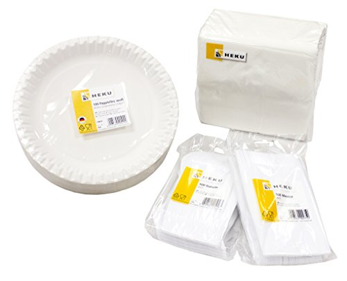 HEKU 30002-01 Einweg-Set, bestehend aus 100 Pappteller, 100 Messer, 100 Gabeln, 100 Prägeservietten