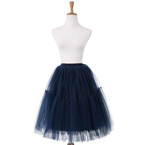 NUOMIQI falda de tul de las mujeres falda plisada princesa de 5 capas de la falda del ballet de la enagua del organza del tutú Pettiskirt Azul marino