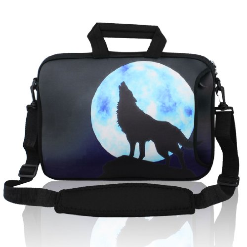 Gino 13″ 13.3″ Wolf Moon Notebook Laptop Sleeve Handbag Case w Shoulder Strap for Asus HP, Bags Central