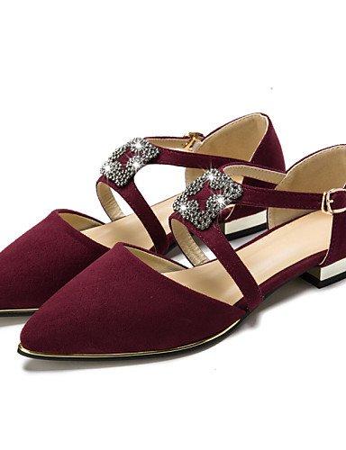 mujer negro casual PDX Flats burgundy Toe punta cerrado almendra cn39 uk6 Toe zapatos ante de Burgundy Ballerina talón vestido de us8 gris plano eu39 AAq6ZWwtS