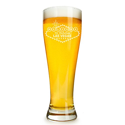 Welcome to Las Vegas Engraved 16 ounce Beer Glass Pilsner