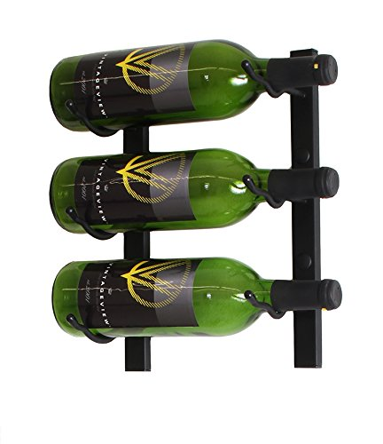 7ec3d3c841 Amazon.com: VintageView Wall Series- 3 Bottle Wall Mounted Wine Bottle Back  (Satin Black) Stylish Modern Wine Storage with Label Forward Design :  Kitchen & ...