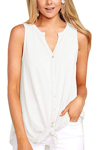 Intimate Boutique Women's Summer Sleeveless Blouse Tie Front V-Neck Lightweight Casual Basic Cotton Tank Top White ()