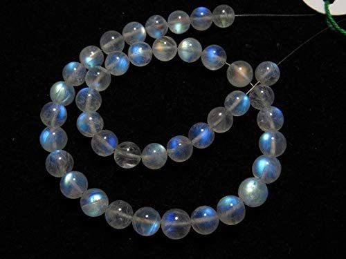 Jewel Beads Gems-Jewellery RAINBOW MOONSTONE - AAAAA - High Quality So Gorgeous Smooth Polished Round Ball Beads Blue Flash Fire size 7 mm - 41 Pcs