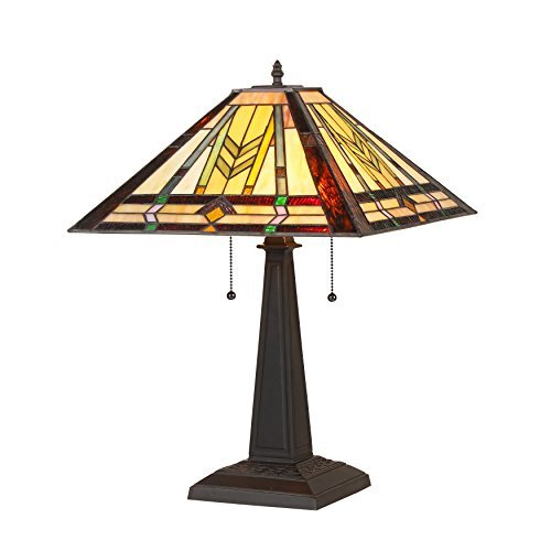 Chloe Lighting CH35550MM16-TL2 Nathan, Tiffany-Style 2 Light Mission Table Lamp, 15.9″ x 15.9″ x 22.53″, Multi