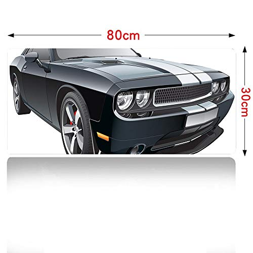 Cars Mouse pad Black Modern Pony Car with White Racing Stripes Coupe Motorized Sport Dragster Mouse Pad Large Size 700x300mm Black Grey White 28×12in]()