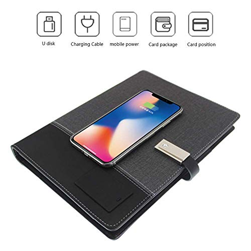 (TUZECH Leather Business Portfolio Notebook, Binder Diary Book,Qi Wireless Charging Diary NoteBook for iPhone (black))