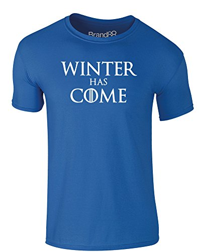 Brand88 Winter Has Come, Adults T-Shirt - Royal Blue/White L -